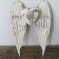 White metal angel wings wall hanging French by AnitaSperoDesign