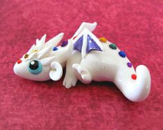 Curious White Rainbow Dragon by DragonsAndBeasties on Etsy