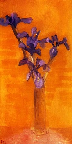 Piet Mondrian. Blue Irises against an Orange Background (1910)