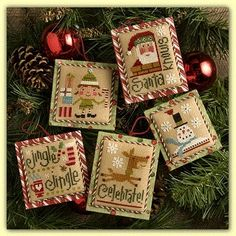 Lizzie Kate Tiny Tidings XIX - Cross Stitch Pattern. Santa Knows stitch count 36W x 48H, Celebrate! stitch count: 36W x 47H, Santa's Helper stitch count: 39W x