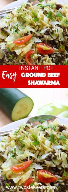 This recipe for the Instant Pot Ground Beef and Rice Shawarma is what happens when you come home tired after 4 long days of driving, everyone is hungry, there's almost nothing in the fridge and you need to cook dinner for 5 people. via @twosleevers
