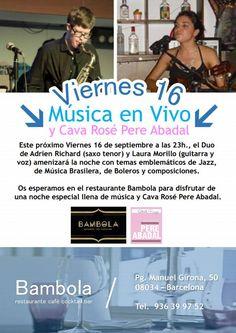 BAMBOLA http://www.vvdbarcelona.com/musica-en-directo-y-cava-rose-pere-abadal-en-restaurante-bambola-barcelona-1609/