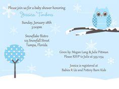 Owl Winter Baby Shower Invitations for Boys by TheInviteLadyShop, $7.50