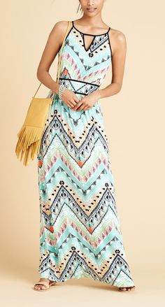 Wearing this cute Southwestern-style maxi dress to an outdoor concert this summer.