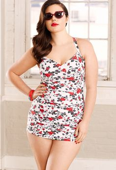 46a992b533f Swimsuits for All red and white floral one-piece  thick-thighs  plus