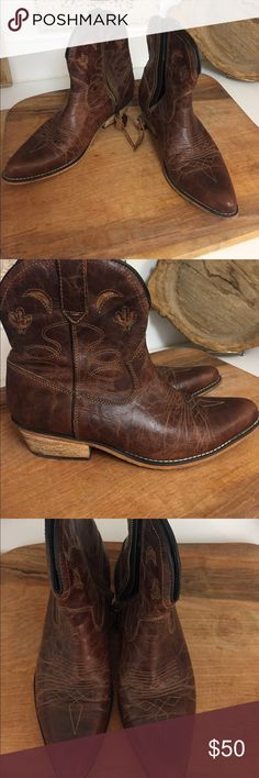 Brown leather cowboy boots- ankle boots Beautiful brown ankle cowboy boots. Brown leather with inlaid moons and cactus design. Worn a few times great condition. Dingo Shoes Ankle Boots & Booties