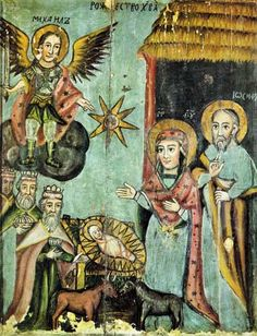 Rastvo 1746 - Category:Icons of Nativity in Belarus - Wikimedia Commons Religious Images, Religious Icons, Religious Art, Bad Art, Byzantine Art, Art Icon, Orthodox Icons, Naive Art, Medieval Art