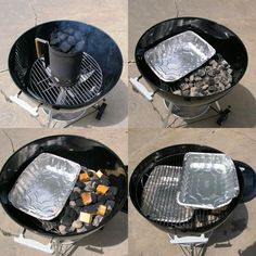 Now its time to turn your charcoal grill into a smoker. This is easily done with two disposable aluminum pans. These should be about half the size of your charcoal grill. One of these pans will act as a drip pan that helps hold the charcoal in place and keeps dripping away from the fire. The other pan will be filled with water to add moisture to your grill and to help regulate the temperature.