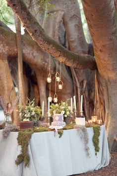 Very midsummer nights dream - trees and moss and candles - use of natural greens and browns