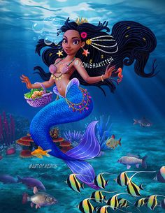 Yonisha Mermaid Art by Fantasy Mermaids, Unicorns And Mermaids, Mermaids And Mermen, Pretty Mermaids, Black Girl Cartoon, Black Girl Art, Black Women Art, Mermaid Artwork, Mermaid Drawings