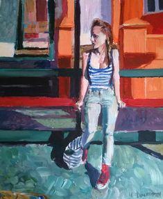 Original Painting, collected artist Samuel Burton Bus Stop Woman art colourist