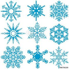 Vektor: Snowflake Set - Winter Design Elements