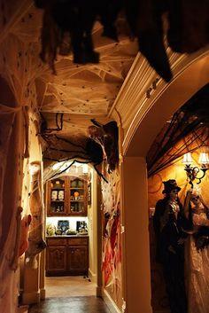 halloween dinner, spider webs, dinner parties, school hallway