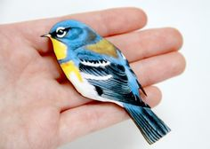 Blue and Yellow Bird Wooden Brooch