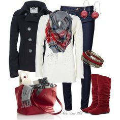 Love this causal winter outfit. The pops of red are perfect!