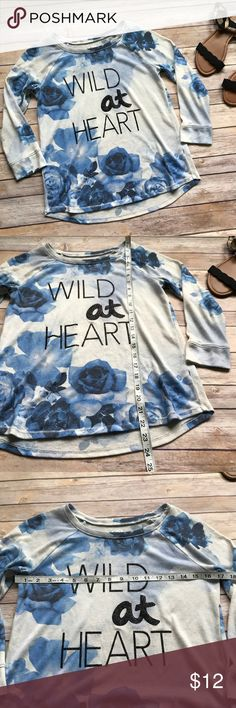 Justice Wild at Heart Top size 12 Great condition Justice cute boutique style long sleeve top 💠From a clean and smoke free home!💠 Add to a bundle to get a private discount 💠 Discount ALWAYS Available on 2+ items💠 No trades, holds, modeling or transactions off of Poshmark.💠 Justice Shirts & Tops