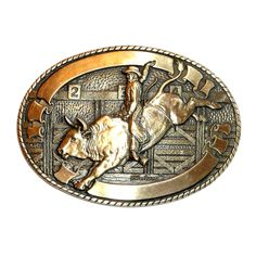 Designed by artist Robert L. Henderson, OK. Western Belt Buckles, Brass Belt Buckles, Western Belts, Bull Riders, Lost Wax Casting, Studded Belt, Solid Brass, Westerns, 1970s