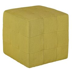 Cortesi Home Braque Citron Tufted Cube Ottoman in Green Fabric