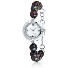 Bling Jewelry Stainless Steel 8mm Freshwater Cultured Pearl Crystal Watch