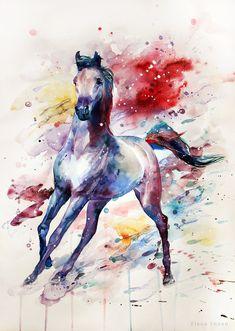 Watercolor horse by ElenaShved on DeviantArt