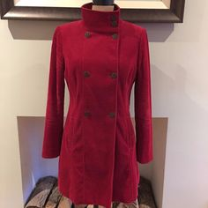 UK SIZE 10 WOMENS MARKS & SPENCER PER UNA RED CORDUROY COAT TRENCH #MS #Fitted #Casual
