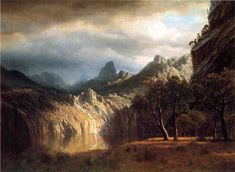 In Western Mountains by Albert Bierstadt - Hand painted oil painting reproduction
