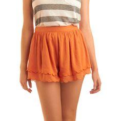Peach Me I'M Dreaming Shorts ($16) ❤ liked on Polyvore featuring shorts, women, scalloped shorts, patterned shorts, ruffle shorts, basketball shorts and print shorts