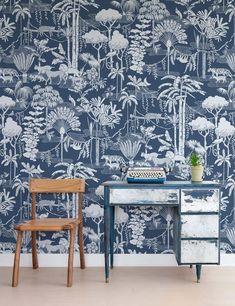 Jungle Pattern, Vinyl Wallpaper, Wallpaper Ideas, Bedroom Wallpaper, Wallpaper Decor, Benjamin Moore Paint, Nest Design, Design Repeats, Burke Decor