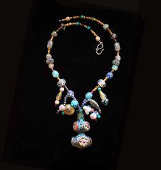 Elaborate Dreamy Handmade Glass Vase Pendant with by BijouxWalla