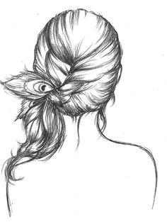 Girl with feather in her hair.