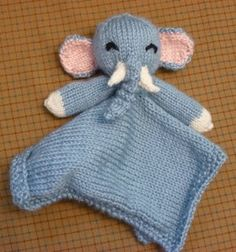 """Elephant Lovie Blanket  By: Thora Bey from Thora's Blog  They are calling this a blanket, but if I read the instructions correctly, it is only 11"""" long -- not long enough for a blanket. However, you could just add to width and length to make it a blanket."""