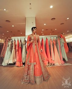Carrot red sangeet anarkali lehenga