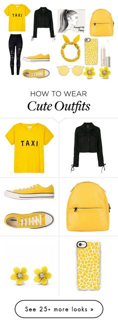 """""""Yellow Outfit"""" by samyrarobinson123 on Polyvore featuring Compañia Fantastica, Converse, Lost & Found, Laura Di Maggio, Casetify, Ilia and WithChic"""