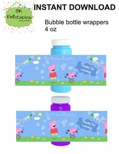 Peppa pig and George pig bubbles bottle Label or wrapper - (Birthday bubbles!). This listing is for a DIGITAL FILE PDF (secured PDF printable
