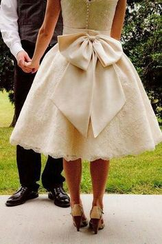 tea length wedding dress in ivory with big fabulous bow!