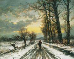 """""""Wanderer im Morgengrauen"""" von Ludwig Munthe (geboren am 11. März 1841 in Årøy bei Sogndal, Norwegen, gestorben am 30. März 1896 in Düsseldorf, Deutsches Reich), norwegischer Maler."""