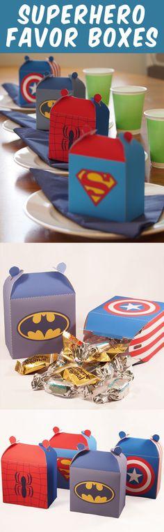Create 4 superhero favor boxes. Great for a superhero party. Fun Paper Craft