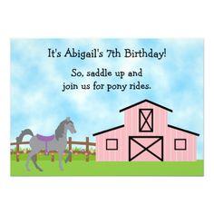 Cute Grey Horse Pony Rides Girls Birthday Invite