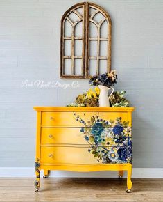 Sunny Days Painted Dresser Repurposed Furniture days dresser painted sunny What is Decoration? Decoration is the art of decorating the … Diy Furniture Redo, Decoupage Furniture, Funky Furniture, Refurbished Furniture, Repurposed Furniture, Furniture Projects, Home Furniture, Dresser Repurposed, Wood Projects