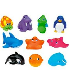 Munchkin 10 Squirtin' Sea Buddies Bath Toys from Argos. For hand stregthening / grip games eg blowing paper out of water, as well as in water tray.
