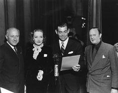 Cecil B. DeMille, Marlene Dietrich, Clark Gable, Jesse Lasky, c. 1932.
