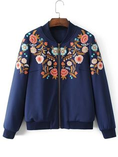 Shop Flower Embroidery Bomber Jacket online. SheIn offers Flower Embroidery Bomber Jacket & more to fit your fashionable needs.