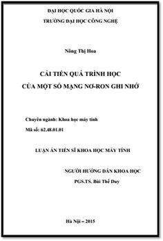 Luận Án Tiến Sĩ - Cải Tiến Quá Trình Học Của Một Số Mạng Nơ-Ron Ghi Nhớ   Sách Việt Nam