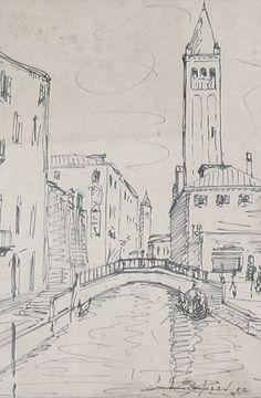 E. Besozzi pitt. 1956 Venezia pennarello su carta cm. 32,5x24 arc. 1124
