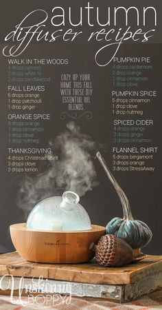 "Pumpkin Spice!? Yes please! Gotta try all of these DIY essential oil diffuser blends for fall. Yummy smelling house here I come...#yleo <a class=""pintag searchlink"" data-query=""%23theoilrevolution"" data-type=""hashtag"" href=""/search/?q=%23theoilrevolution&rs=hashtag"" rel=""nofollow"" title=""#theoilrevolution search Pinterest"">#theoilrevolution</a>"