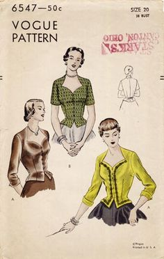 Vogue 6547 circa 1948 blouse