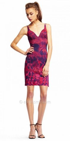 Set the trend for the season in this must have Watercolor Double Spaghetti Strap Fitted Cocktail Dress from Aidan by Aidan Mattox. This gorgeous style features a plunging V-shape neckline with a double spaghetti strap at the shoulders. This style also includes a fitted silhouette with a unique watercolor print that will grab everyone's attention. #edressme