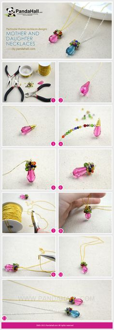 This tutorial is aiming at an easy wire wrapped birthstone necklaces designs that you can make up in about 10 minutes. It's also a great type of special mother and daughter necklaces gifts.