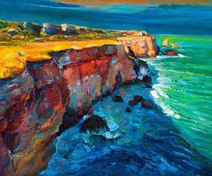Ocean Cliffs Oil Painting Sailcloth Print #OilPaintingOcean