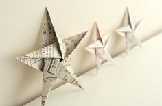 5 pointed origami star Christmas ornaments - step by step instructions (Diy Paper Ornaments) Diy Christmas Star, Christmas Star Decorations, Christmas Origami, Homemade Christmas, Tree Decorations, Christmas Fashion, Christmas Ideas, Diy Origami, Origami Paper